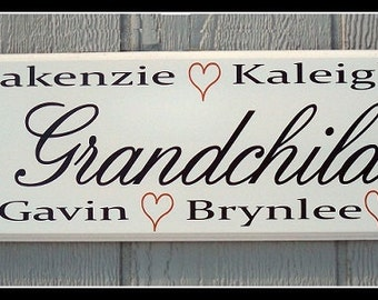 Grandchildren Sign, Grandchildren Names, Personalized Grandchildren Sign, Personalized Family Name Sign, Grandmother gift, Grandmother sign