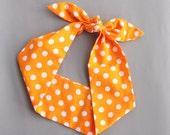 Tie up headband retro head scarf orange head wrap polka dot head bands pin up headscarf neon headwrap 50s style rockabilly hair tie women