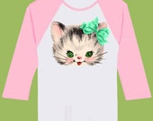 Girls Pink Shirt ,Raglan Shirt, Kitten shirt, Mint Bow, ANY color bow by ChiTownBoutique.etsy