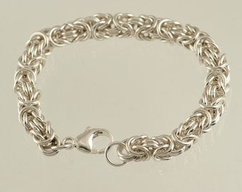 Sterling Silver Byzantine Bracelet, Mens or Women's heavy solid bracelet, Charm Not Included, shown as example
