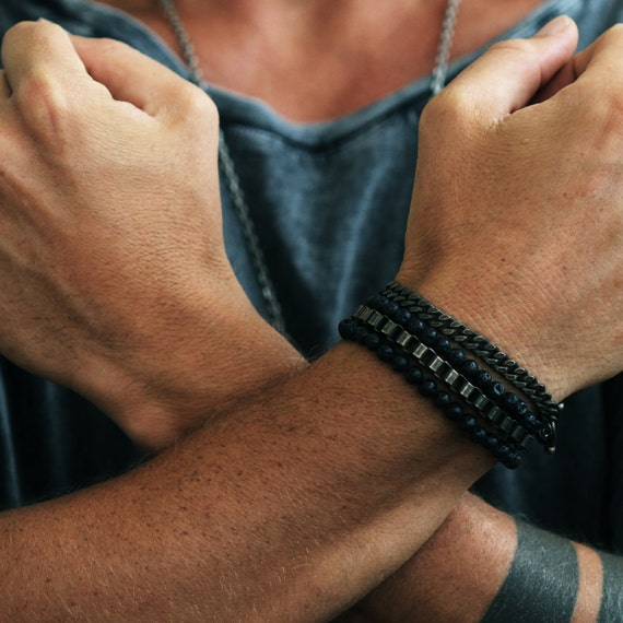 Mens Gold Bracelet Black Lava Beads Stack Chain Bracelets