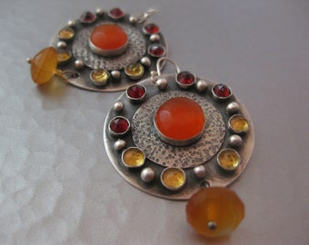 Large Sterling Silver Disk carnelian citrine garnet Ombre Earrings