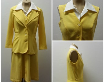 1970s Polyester Dress with Matching Jacket by Straight Lane, Yellow and White, Size M/L, #51259