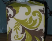 Ready To Ship - Fabric Tissue Box Cover of Green and Brown with Ivory