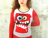 Women Recycled Dress Monster Fun Recycled Clothing  Tshirt Reconstructed Handmade Soft Knit Eco Friendly Stripes Red Beige M  L