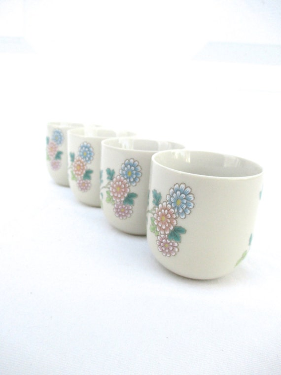 Tea Coffee Cups Vintage 4 Cho Cho San Francisco Flower Design Butterfly Pastell Set