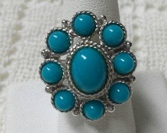 Sarah Coventry Blue Sun    Ring  1971 Gorgeous
