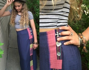 Vintage 90s SKIRT,size S, vintage clothing, vintage patchwork skirt, long straight skirt, indie skirt, phoebe skirt, friends skirt, Zasra