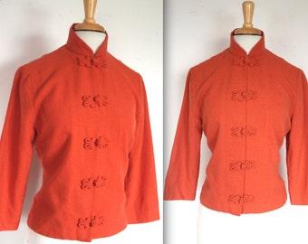 Vintage 1960's Blazer // 50s 60s Bright Orange Wool Mandarin Collar Jacket
