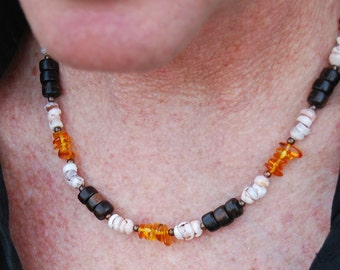CLEARANCE - Smoking Hot - 20 In. Necklace - Amber, Metal, Puka Shell & Wood - SGArtCA Handsome Handmade Jewelry
