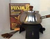 Fondue Set with forks and a Fondue cookbook - a vintage bundle