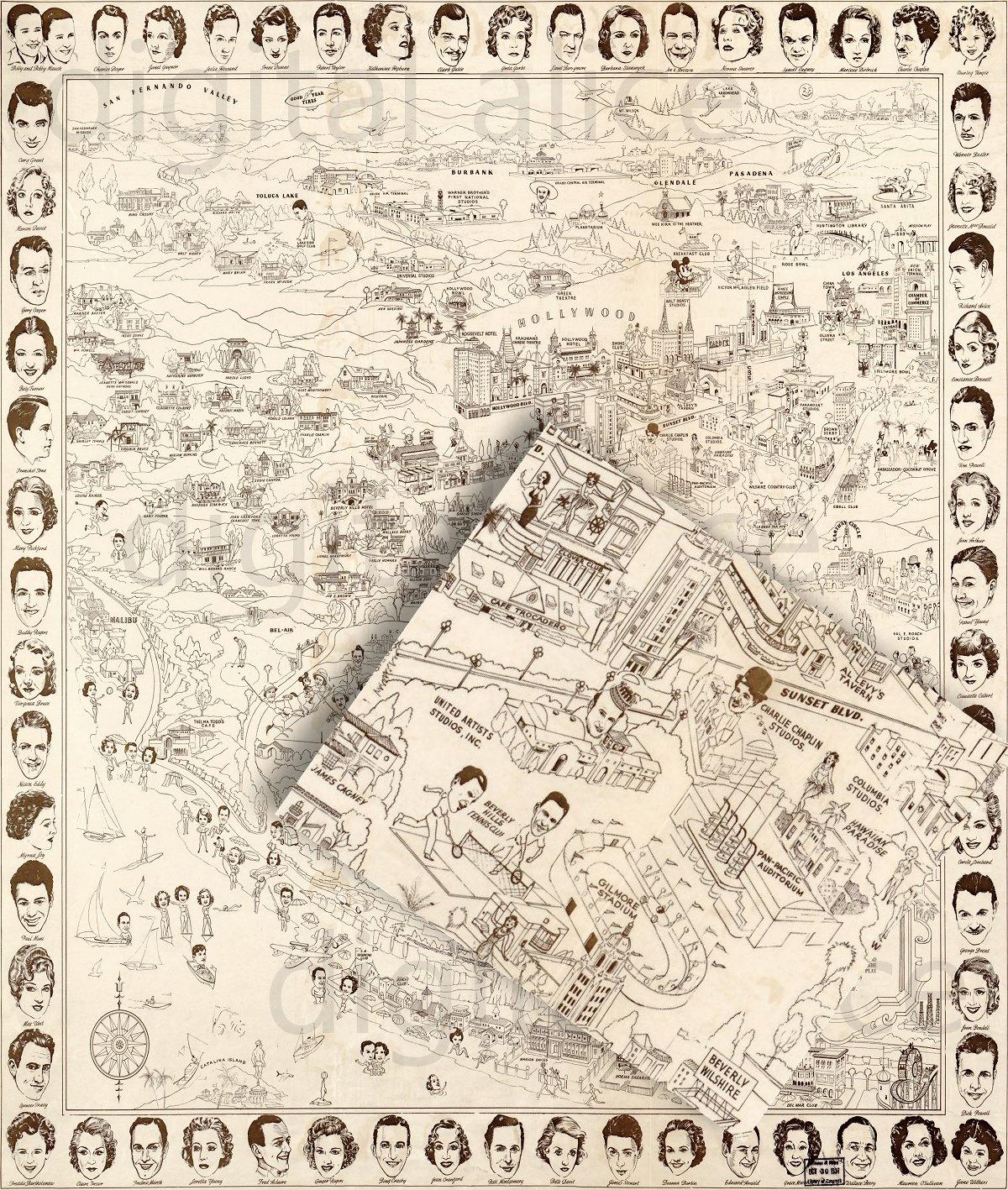 Vintage HOLLYWOOD STARS MAP PosterInstant Download Digital