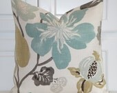 Decorative Pillow Cover - Accent Pillow - Teal - Aqua Green - Brown - Tan - Large Floral