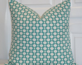 SCHUMACHER - Betwixt in Pool/Natural - Decorative Pillow Cover -  Accent Pillow - Throw Pillow - Geometric - Lattice