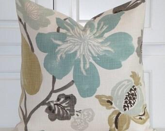 Decorative Pillow Cover - Accent Pillow - Teal - Aqua Green - Brown - Tan - Large Floral