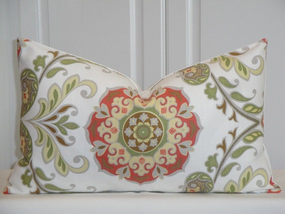 Pale Yellow Throw Pillow Cover : Decorative Pillow Cover Floral Suzani Persimmon Pale