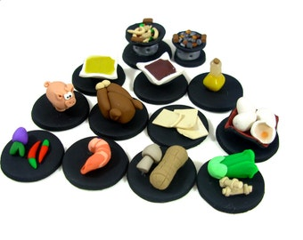 Wok Star Game Token set -- 11 ingredients and two woks, board game pieces, replacement pieces, unique wok, wok star game, sushi ingredients