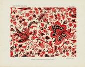 Antique print, 1925 Antique DECORATIVE ARTS litho, Java Batik stampings, floral very decorative antique lithograph