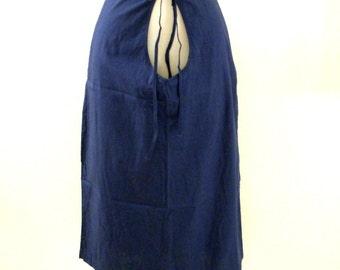Vintage 50s Medium Blue Maternity Skirt - Open Tummy Maternity Skirt - Blue Cotton Maternity Skirt - Size Small to Medium estimated