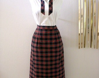 Vintage 1950s 50s Plaid Skirt and Blouse Set by Jantzen -  Red Plaid Pencil Skirt and Matching Blouse - Rockabilly Skirt - Small to Medium