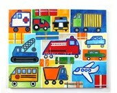 """Boys Room Wall Art, Truck Painting with Plaid accents 16""""x20"""" Acrylic, Art for Kids, Transportation Art"""