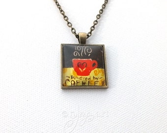 Wearable Art, Powered by Coffee Pendant with necklace, original acrylic painting under glass, mini art, NOT A PRINT