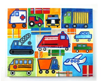 "Truck Painting with Plaid accents 16""x20"" Acrylic, Art for Kids, Transportation Art, Boys Room Wall Art"
