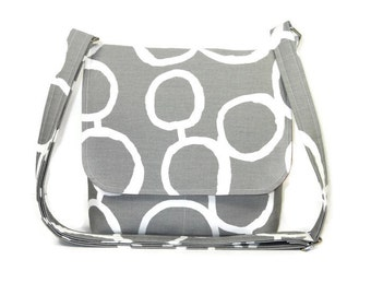 Gray Crossbody Bag, Messenger Purse for Women, Fabric Cross Body Bag, Small Gray Purse, Cotton Handbag, Gray Pocketbook with White Circles