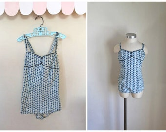 vintage 1950s little girl's swimsuit - BLUE EYED MARY catalina bathing suit / 10-12yr