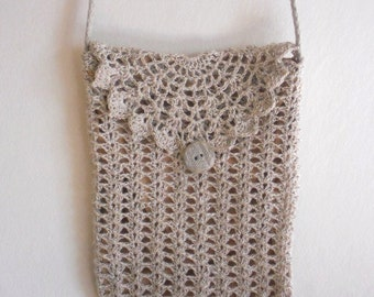 Travel wallet purse, crochet lace natural beige gray linen shoulder bag with long strap, gift for grandmother