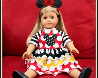 Minnie Mouse Bow Ears Headband for Doll Only - CUSTOM - Twincess Bowtique