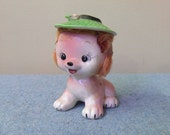 Cute Puppy/Kitten Figurine with Hat with Real Fur Hair - Japan