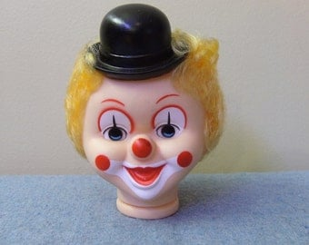 Large Rubber Clown Head with Hat