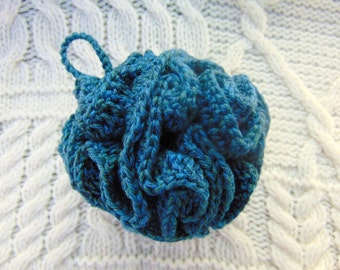 Blue Natural Cotton Shower Puff Bath Pouf Handmade Hand Crocheted