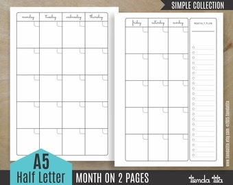 MONTH on 2 pages - A5 Inserts | Simple Collection | A5/Half size letter - PDF files