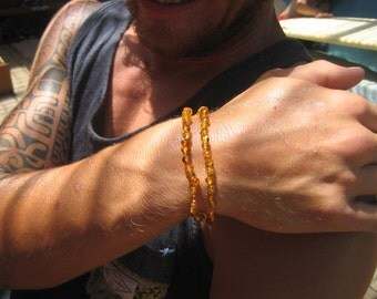 Amber for Men, Double Baltic Amber Bracelet,  Baltic Amber, Therapeutic, Birthday, New Baby, Eco Dad, Natural Father, Amber Nurture.