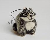 Raccoon Christmas Ornament - Handmade Figurine - Pottery Raccoon - Clay Animal - Peggy Hamlin - Forrest Animal - OOAK