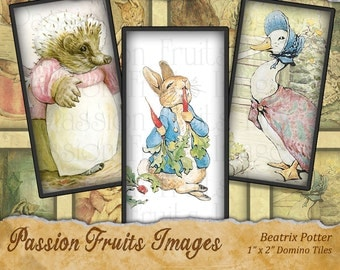 Beatrix Potter Collage Sheet- 1 x 2 Inch Domino Tiles
