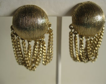 1960 Goldtone Button Clip Earrings with Fringe