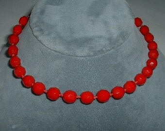 Vintage Deco Red Necklace Faceted Red Glass Beads 1930 RED RED Made in Germany
