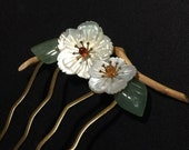 Hair Stick, Hair Comb,Handcrafted, Bridesmaid / Bridal Comb,Sea Shell, Garnet, Agate, Jade And Nature Polished Wood