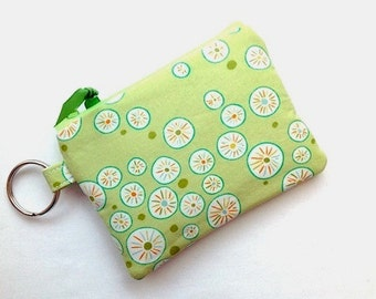 Keychain Coin Purse Small Zipper Pouch Keychain Small Camera Bag Card Case Sale Flower Dots Green White