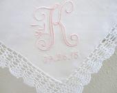 Wedding Handkerchief: Vintage Inspired Crochet Lace Handkerchief with Peony Design 1-Initial Monogram and Date