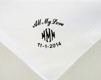 Men's Personalized Handkerchief for the Groom form the Bride