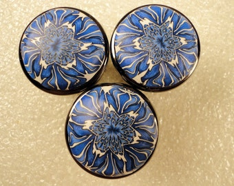 Eight Blue/White    Polymer Clay Cabinet Knobs/   Choose your Finish   Metal Base