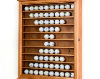 Cherry Golf Ball Display Case Wall Cabinet-Cherry Hardwood