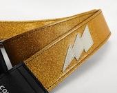 Custom Gold Sparkle Lightning Bolt Guitar Strap