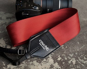 Recycled Crimson Red Seatbelt Camera Strap