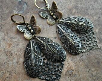 SALE Victorian Butterfly Filigree Earrings in Brass Exclusive Design only by Enchanted Locketse