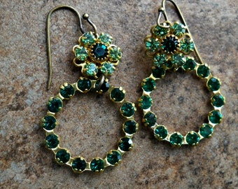 READY TO SHIP Swarovski Emerald Green Holiday Earrings in Brass, One-of-a-Kind Swarovski Rivoli Earrings